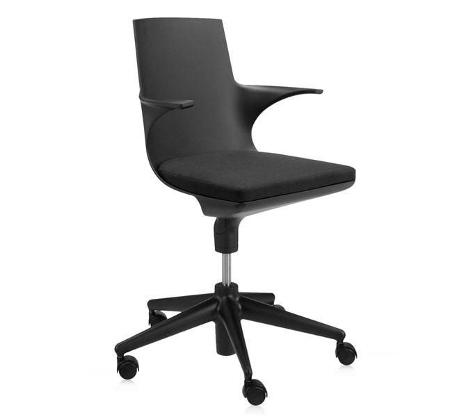 Kartell Spoon Chair bureaustoel-Zwart